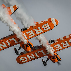 Stearman Pair, Eastbourne by Phil Clarkstone - Transportation Airplanes ( biplane, stearman, breitling, loop, boeing, barnstorm, aerobatic, stunt, smoke )