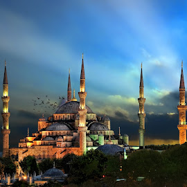 Blue Mosqoe (Sultan Ahmet Mosque) by Murat Can - Buildings & Architecture Places of Worship ( blue sky, mosque, sunset, sunrays, murat can, istanbul, sunlight )