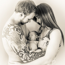 Family Love  by Roland Bast - People Family ( black and white, tattoos, family )