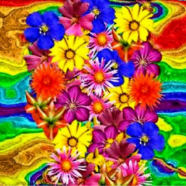 Rainbow Bouquet by Amada Gonzalez - Painting All Painting ( colorful, artistic, flowers, rainbow, digital )