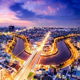 Violon by Dung Pham - City,  Street & Park  Skylines ( sunset, violon, night, vietnam, cityscape, saigon, river )