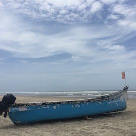 Fishing boat by Vikram Kattoju - Transportation Boats ( sand, blue, sea, fishing, beach, boat )