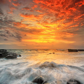 Burned Sky by Agoes Antara - Landscapes Sunsets & Sunrises ( sky, nature, waterscape, cloud, pwcsunbeams-dq, beach, landscape )