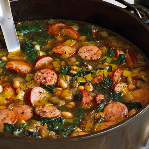 White Bean, Kale and Kielbasa Soup
