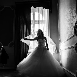 Bride in front of window by Jovan Barajevac - Wedding Bride ( čurug, wedding photography, b&w, novi sad, beautiful, moments, magic, girl, dress, happy, wedding, shadow, elegant, bride, dance )