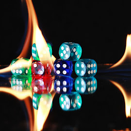 Dice and flames by Peter Salmon - Artistic Objects Other Objects ( flames, dice, dots, heat, fire )