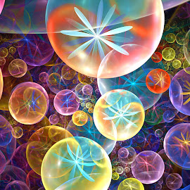 Bloomin' Bubbles by Peggi Wolfe - Illustration Abstract & Patterns ( abstract, wolfepaw, gift, unique, bright, illustration, fun, digital, print, décor, bubble, pattern, color, unusual, fractal, flower )