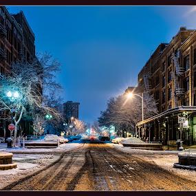 Before the Bussle by Jason Brown - City,  Street & Park  Street Scenes ( street, snow, pre-dawn )