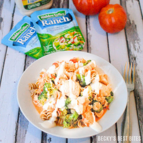 Ranch Buffalo Chicken Pasta with Broccoli