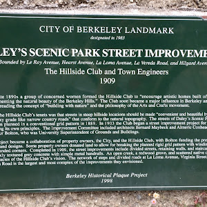 CITY OF BERKELEY LANDMARK designated in 1983 DALEY'S SCENIC PARK STREET IMPROVEMENTS bounded by Le Roy, Hearst, La Loma avenues, La Vereda Road, Hilgard Avenue The Hillside Club and Town Engineers, ...