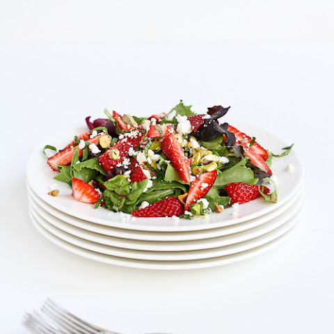 Strawberry, Pistachio, Feta Cheese & Basil Salad