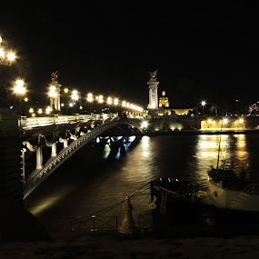 Seine River at NIght 2 by Katie Ehrlich - City,  Street & Park  Historic Districts ( paris, seine, night, france, river )
