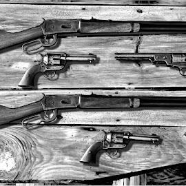 GUNS THAT WON THE WEST by Gerry Slabaugh - Black & White Objects & Still Life ( colt 36 model 1851, colt 45 model 1873, rifle, revolver, won the west, west, winchester 1894 )