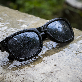 Wet Sunglasses by Riţco Cristian - Novices Only Objects & Still Life ( up close, raindrops, wet, bokeh, sunglasses, rain )
