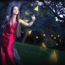 Francesca - 7558 by Keith Darmanin - People Fashion ( butterfly, fashion, cute, kitzklikz, photography, fantasy, reach, red, kitz klikz, butterflies, dress, reaching, keith darmanin, francesca )