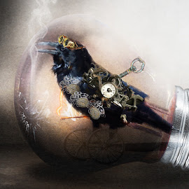 steampunk by Kathleen Devai - Digital Art Animals ( time, cogs, lightbulb, clock, goggles, crow, key )