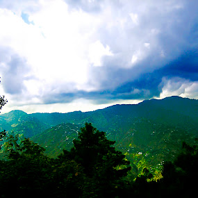 Cloudy Mountains by Aamir Soomro - Landscapes Mountains & Hills ( clouds, murree, hills, pakistan, mountains, blue, green, world_is_green )