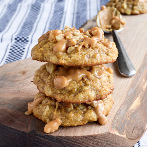 Peanut Butter Drizzled Banana Walnut Cookies 25-30 cookies