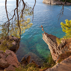Paradise diving by Maxim Malevich - Sports & Fitness Watersports ( water, montenegro, adriatic, nature, woman, cliff, sport, sea, landscape, cliffdiving, diving, balkans )