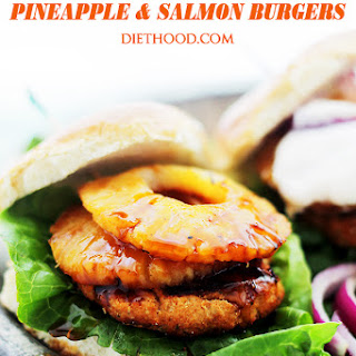 Teriyaki Pineapple and Salmon Burgers with Sriracha-Yogurt Sauce