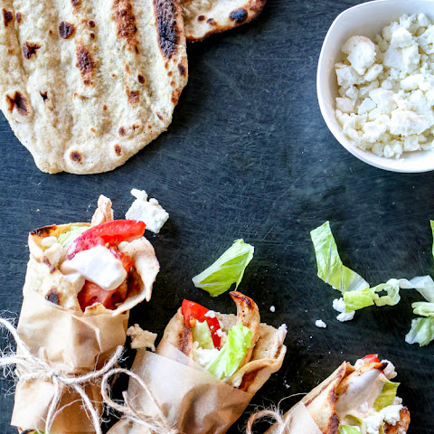 Chicken Flatbread Wraps with Spicy Tahini Yogurt Sauce