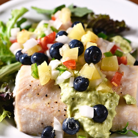 Baked Mahi Mahi with Pineapple Blueberry Salsa