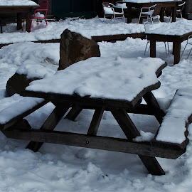 Snow Tables by Sarah Harding - Novices Only Street & Candid ( cold, still life, outdoors, snow, novices only )