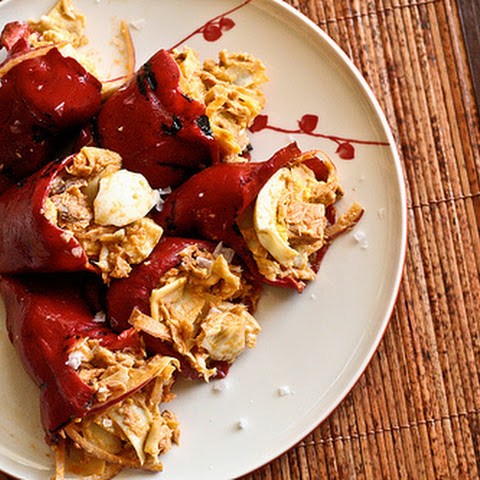 Piquillo Peppers stuffed w/Artichokes, Tuna & Egg Salad