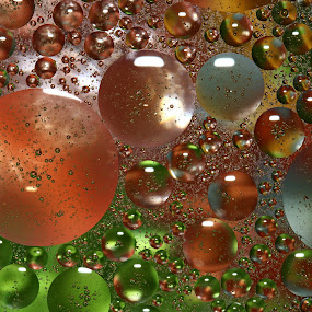 by Dipali S - Abstract Water Drops & Splashes ( water, abstract, circles, background, grease, drops, metallic, globules, design, oil )