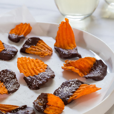 Chocolate Dipped Sweet Potato Chips