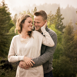 Love, Rain and Laughter  by Michael Keel - People Couples ( love, redwood camp, redwoods, redwood campengagement sessioncouplescouplemarriedredwoodsforestfogcloudsmist, fog, forest, mist, couples, engagement )