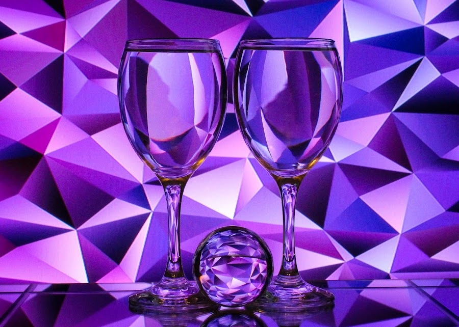 Geometry in Glass by Sam Sampson - Artistic Objects Glass ( reflection, glasses, purple, refraction, shapes )