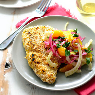 Matzoh-Crusted Chicken with Orange, Fennel, and Gold Beet Salad