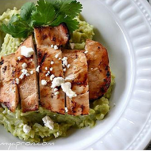 Avocado & Feta Cheese Creamy Rice With Grilled Chicken