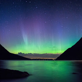 Aurora at Lake Wiloughby  by Sondra Sarra - Landscapes Starscapes ( water, refelctions, stars, northern_lights, aurora, night, lake, big_dipper )
