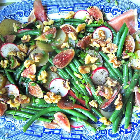 Ad Hoc Salad of Figs, Green Beans, Prosciutto, Walnuts & Potatoes