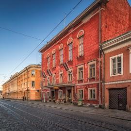 Helsinki by Ole Steffensen - City,  Street & Park  Street Scenes ( cobblestones, street, helsinki, finland, restaurant, tram rails )
