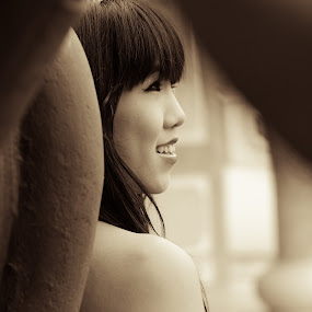 Behind The Scenes by Hadinata Lim - People Street & Candids ( portrait candid girl temple beauty bw )