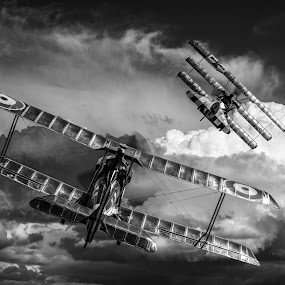by Peter Rollings - Digital Art Things ( clouds, sky, battle, wwi, aircraft, german, bi-plane, dogfight )