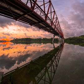 by Gordon Koh - Buildings & Architecture Bridges & Suspended Structures ( reflection, asia, bridge, sunrise )