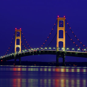 Mackinac at Twilight by Flora Ehrlich - Buildings & Architecture Bridges & Suspended Structures ( pwc bridges, michigan )