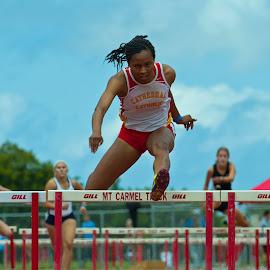 Tired jump by Kevin Mummau - Sports & Fitness Running ( finish, track, hurdle, fast, jump )