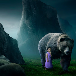 Best Friend by Muhamad Lazim - Digital Art Animals ( #animal #place #child #fantasy #cinematic #hill )