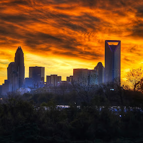 A Fire In The Sky by Randell Whitworth - City,  Street & Park  Skylines ( skyline, hdr, sun rise, charlotte, city )