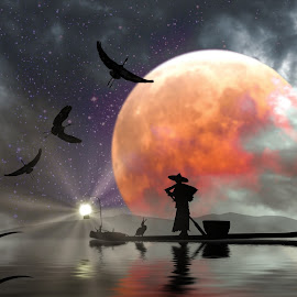 Moon Mist with lamp by Charlie Alolkoy - Illustration Sci Fi & Fantasy ( moon, reflection, bird, cormorant, fisherman )
