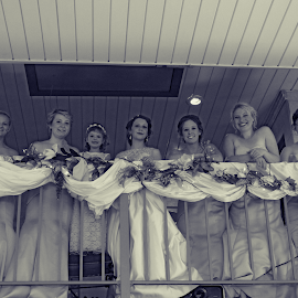 Bout That Time by Brian  Shoemaker  - Wedding Groups ( blackandwhite, bridesmaids, wedding, party, bride )