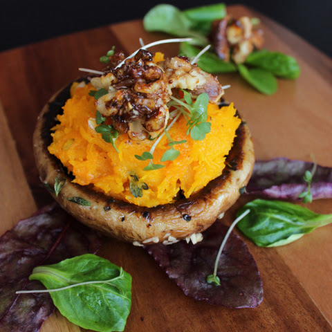 Portobello Mushroom with roasted Pumpkin mash and caramelized Walnuts