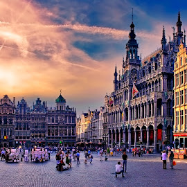 Evening at the Grand Place by Alexander Kaplya - City,  Street & Park  Historic Districts