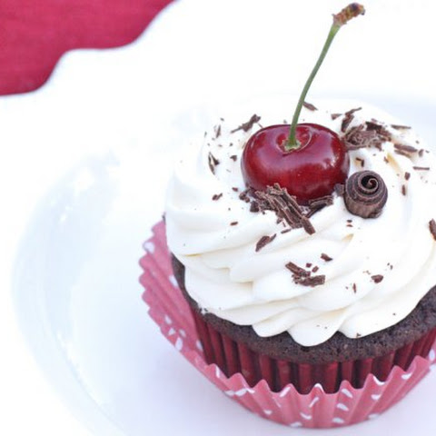 Black Forest Cupcakes with Whipped Cream Frosting