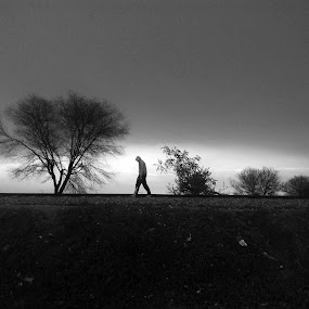 Alone  by Sidd Harth - Instagram & Mobile Android ( mobilography, black and white, silhouette, street, minimal, alone )